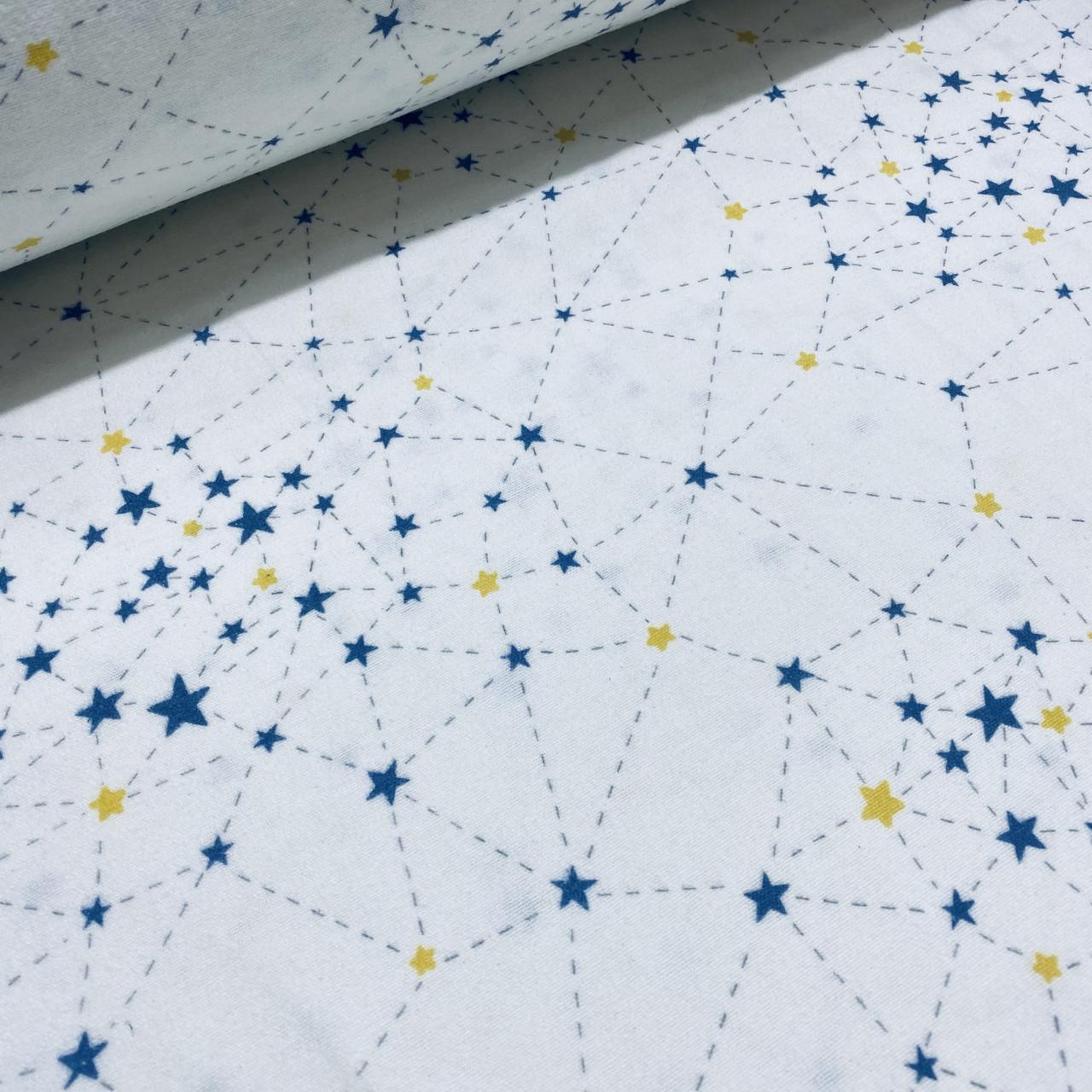 Фланелевая ткань созвездия желто-синие на белом (шир. 2,4 м)
