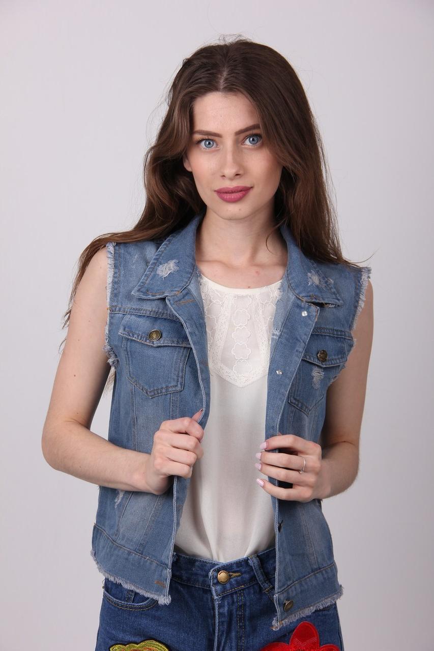 Жилетка женская ClassicFashion 801 джинс (Синий M)