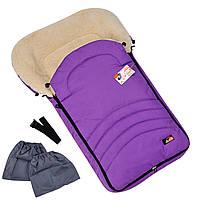 Детский зимний конверт-чехол For kids Maxi с бахилами на овчине в коляску санки Фиолетовый k002f, КОД: 1317168