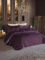 Велюровое покрывало с наволочками 250*260 см, фиолетовый
