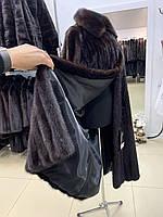 Длинная норковая шуба под пояс 44 46 размер темная норка