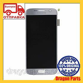 Дисплей Samsung G930 Galaxy S7 с сенсором Серебряный Silver оригинал , GH97-18523B