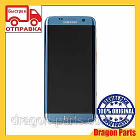 Дисплей Samsung G935 Galaxy S7 Edge с сенсором Голубой Blue оригинал , GH97-18533G