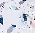 Сатин (хлопковая ткань) Перышки акварельные цветные, фото 4