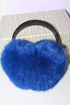 Меховые натуральные наушники синие