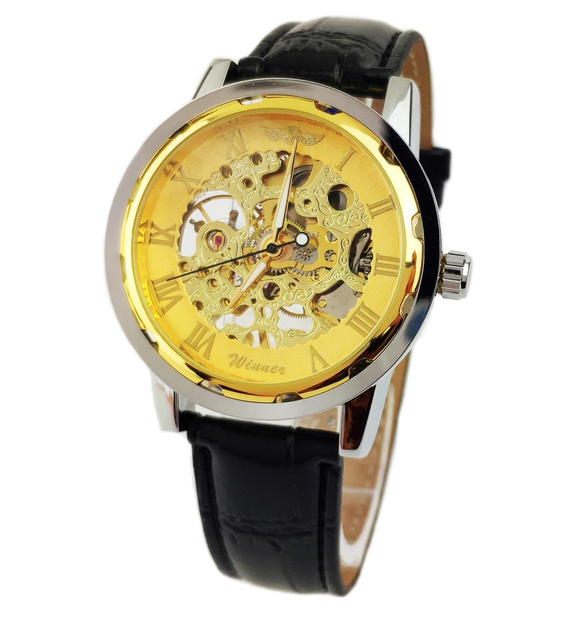 Механические часы Winner Skeleton Simple Golden - гарантия 12 месяцев