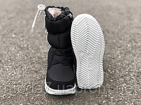 Детские зимние дутики черные с полосками 4, фото 3