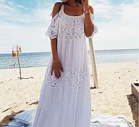 Шикарное длинное белое хлопковое (батист) женское платье-сарафан  для летнего отдыха с  кружевом, размер 3XL