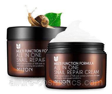 Крем для лица и шеи с улиткой MIZON All In One Snail Repair Cream 120мл