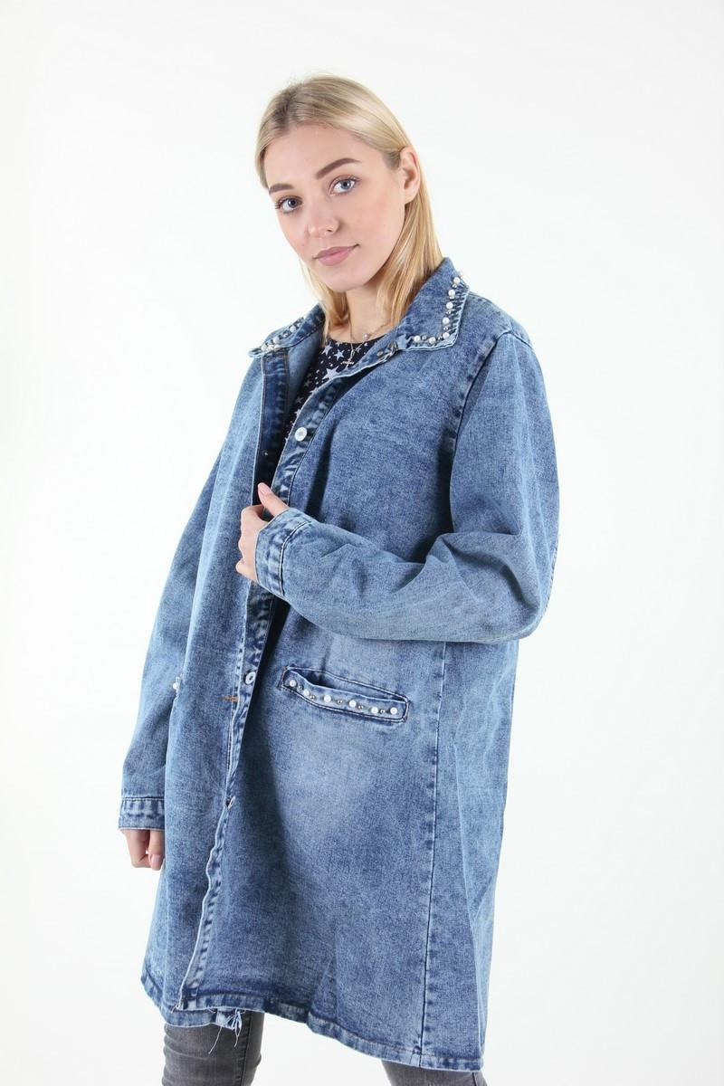 Куртка женская Yangyangfushi 2439 джинс батальна (Синий 52)