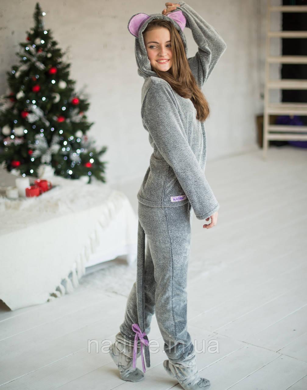 Подростковая пижама кигурами Мышка Eirena Nadine (723-46) на рост 146 серая