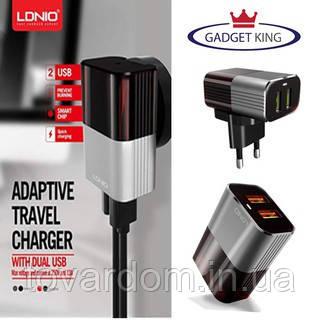 Зарядное Устройство 2USB LDNIO (2.4A) Black/Grey + Cable Type-C