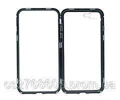 Бампер Металевий-Скляний iPhone 7 Plus, iPhone 8 Plus чорний