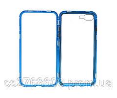 Бампер Металевий-Скляний iPhone 7 Plus, iPhone 8 Plus синій