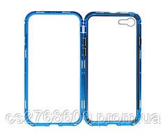 Бампер Металевий-Скляний iPhone 7, iPhone 8 синій