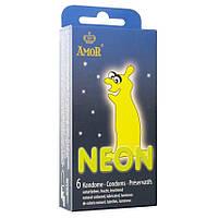 Светящиеся в темноте презервативы Amor Neon, 6 шт.