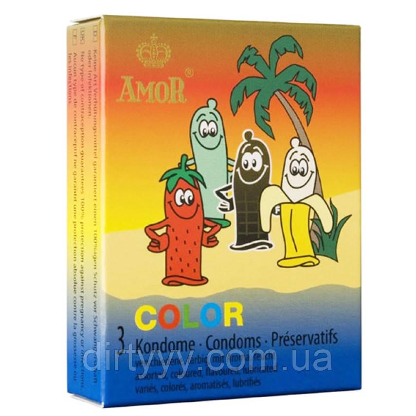 Цветные презервативы AMOR COLOR, 3 шт.