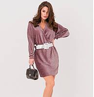Платье на запах бордово с люрексом нарядное праздничное красивое молодежное, платье эффектное