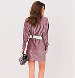 Бордове плаття на запах з люрексом, ошатне плаття Святкова, плаття гарне Молодіжне, ефектне плаття, фото 3