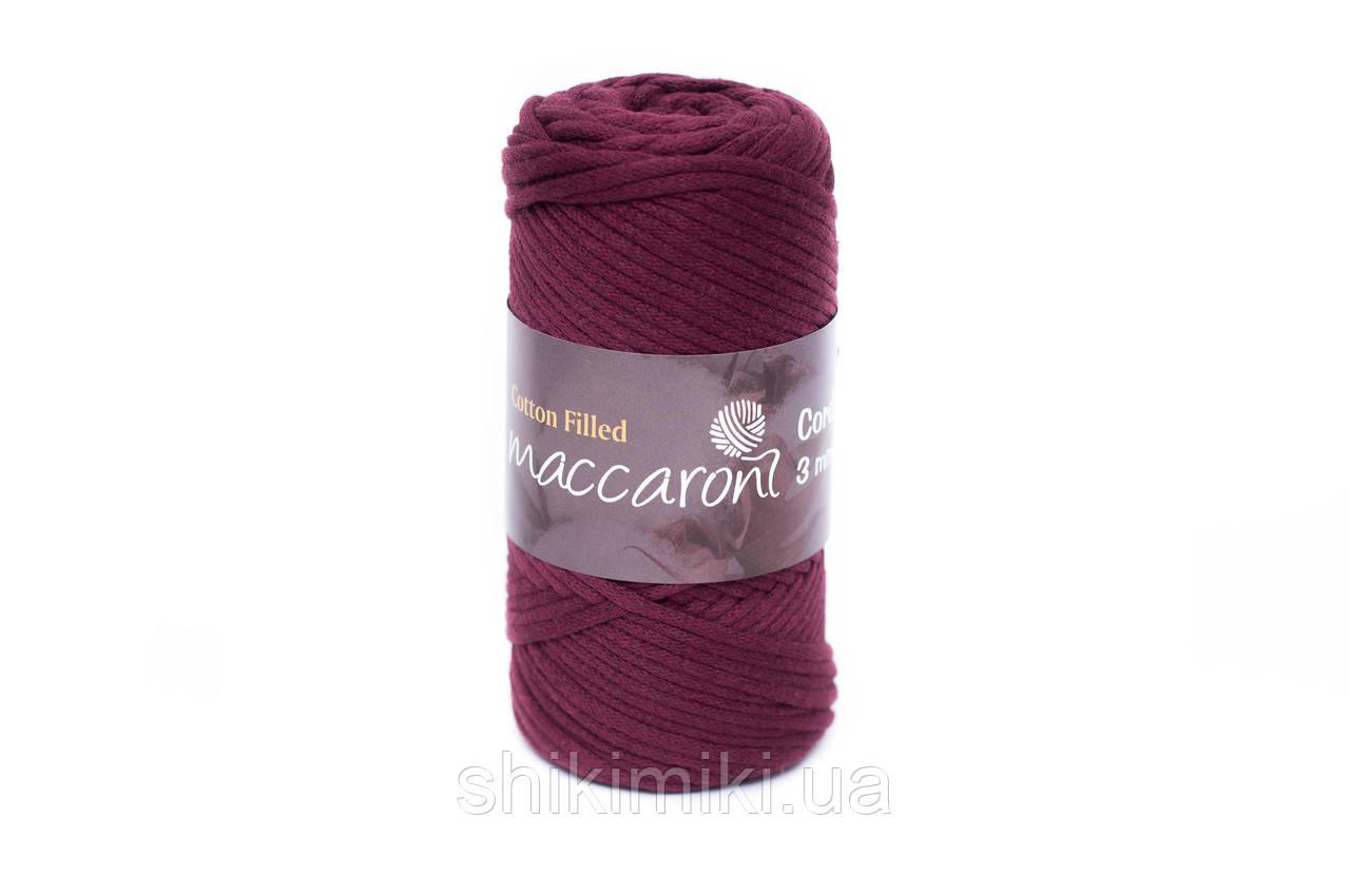 Трикотажный хлопковый шнур Cotton Filled 3 мм, цвет Бордовый св
