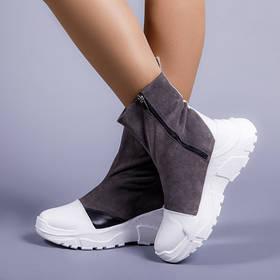 Ботинки женские замшевые на модной подошве Размеры 36-40