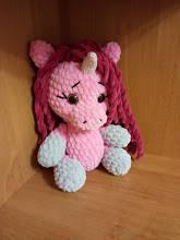 Вязаная игрушка плюшевая пони-единорог единорожка