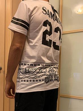 Белая свэг футболка с полосками и со звездами и с номером, фото 2
