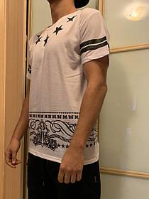 Белая свэг футболка с полосками и со звездами и с номером