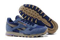 Мужские кроссовки Reebok Classic(рибок классик) замшевые синие