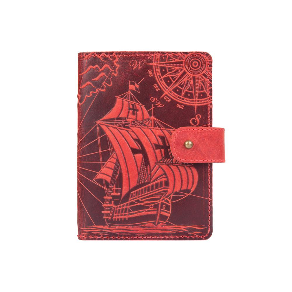 "Кожаное портмоне для паспорта / ID документов HiArt PB-02/1 Shabby Red Berry ""Discoveries"""