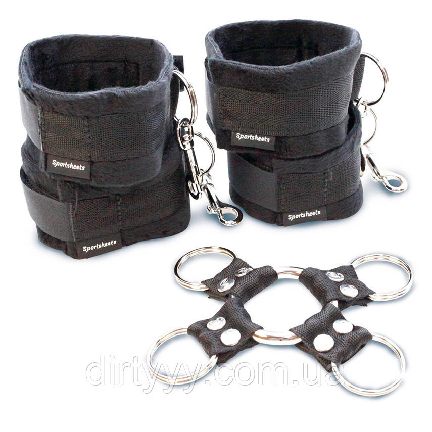 Набор для фиксации рук и ног Sportsheets Hog Tie & Cuff Set, цвет: черный