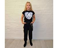 Джоггеры черные на девочку-подростка на рост 134-176