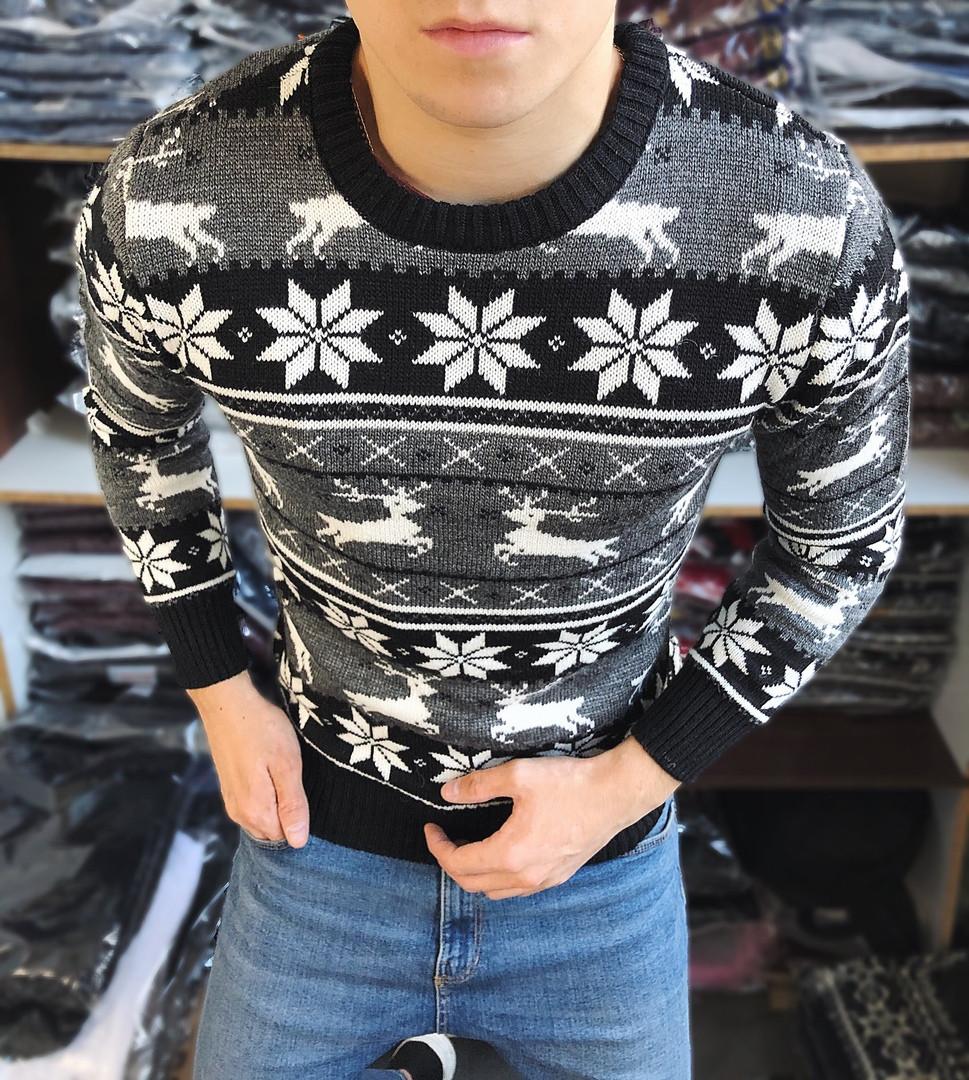Мужской свитер с оленями без воротника черный с белым Турция теплый. Живое фото. Есть другие цвета