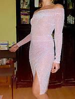 Облегающее Вечернее платье люрекс пудровый электрик синий серебро бордо 44 46  48 50 К