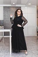 Роскошное женское платье в пол с баской верх из сетки с узором и пышной юбкой из евросетки 50-52, 54-56, 58-60