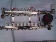 Коллектор на 12 выходов с расходомерами в сборе для теплого пола FADO