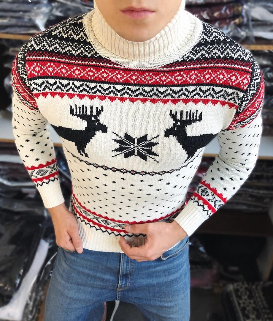Мужской свитер с оленями с воротником белый Турция теплый. Живое фото. Есть другие цвета