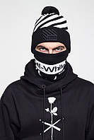 Комплект в стиле Off White, шапка и бафф Cross, Black/White