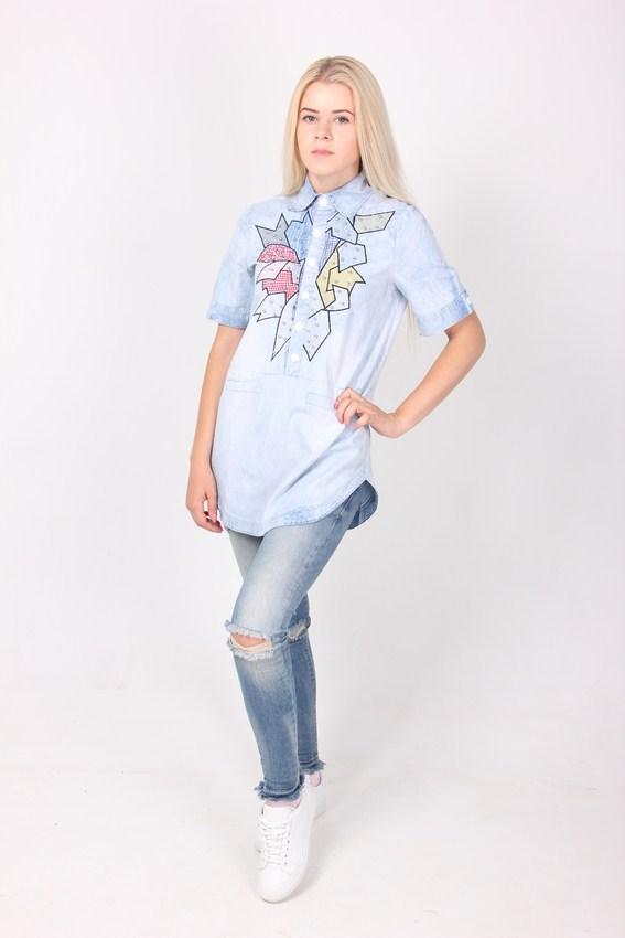 Джинс OrangeHin 1165 рубашка-туника  (Синий L)