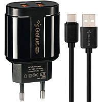 Зарядное Устройство Gelius Pro Avangard GP-HC06 2USB 2.4A + Cable iPhone X Black, фото 1