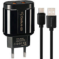 Зарядное Устройство Gelius Pro Avangard GP-HC06 2USB 2.4A + Cable iPhone X Black