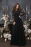 Женское длинное вечернее черное платье 42-46 разм., фото 1