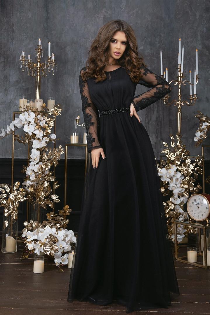 Женское длинное вечернее черное платье 42-46 разм.