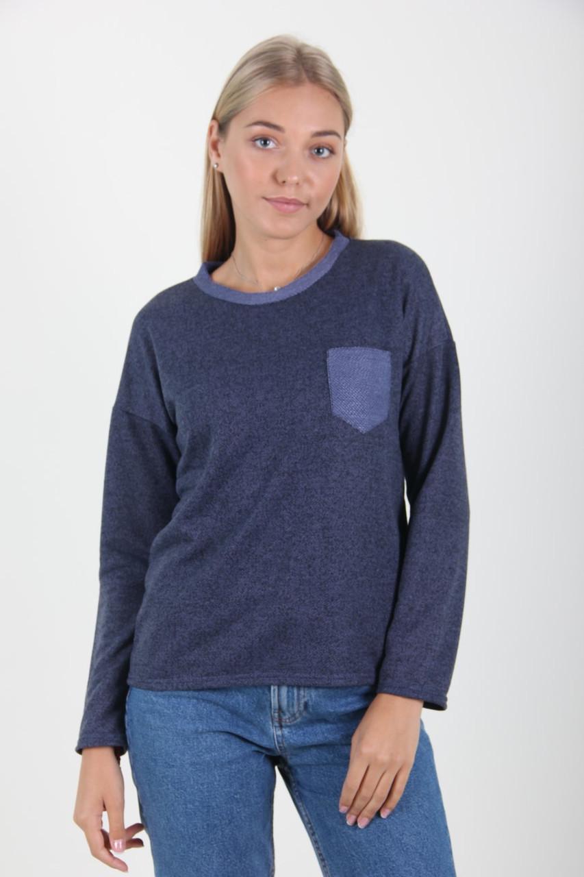 Кофта женская MissFashion 3047 с карманом на груди (Синий 48)