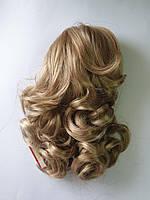 Шиньон на крабе волнистый, длина до 35 см, цвет пшеничный блонд мелированный