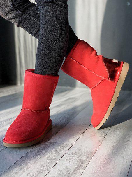 Высокие красные женские угги UGG