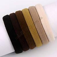 Бесшовная резинка микрофибра для волос кофейные тона, материал: нейлон, диаметр: 4.5 см, ширина: 9 мм,100 штук