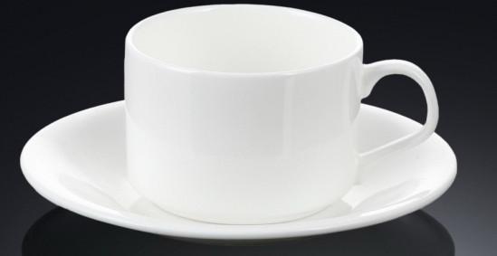 Чашка фарфоровая для чая+блюдце WILMAX WL-993006 160 мл