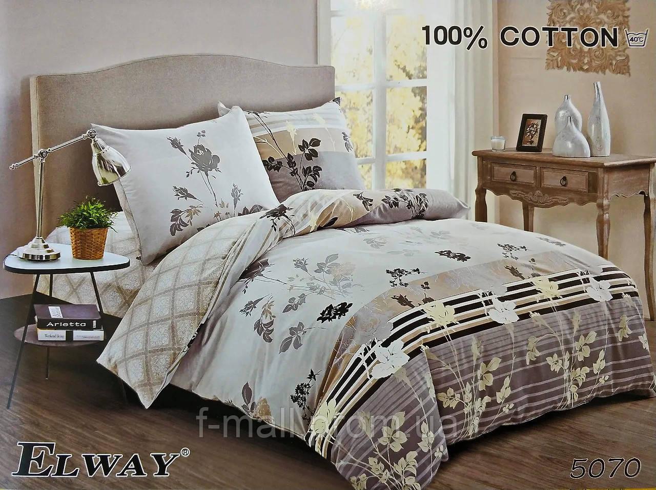 Комплект постельного белья ELWAY (Польша) Сатин евро (5070)