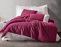 Комплект постельного белья евро Cotton Box  Plain Sport Bordo Krem